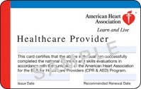AHA healthcare providers certification card